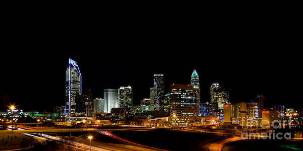 Charlotte Nc Photography Poster featuring the photograph Charlotte Skyline Panoramic by Patrick Schneider