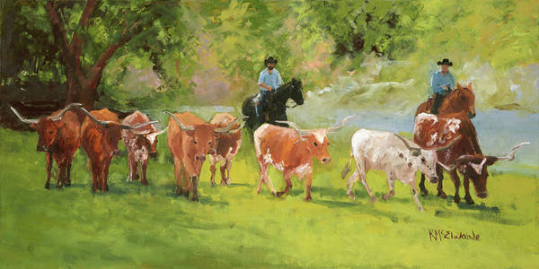 Chisholm Trail Poster featuring the painting Chisholm Trail Texas Longhorn Cattle Drive Oil Painting By Kmcelwaine by Kathleen McElwaine