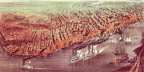 City Poster featuring the painting City Of New Orleans by Currier and Ives