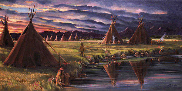 Native American Poster featuring the painting Encampment At Dusk by Nancy Griswold