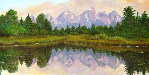 Landscape Poster featuring the painting Grand Tetons by Merle Blair