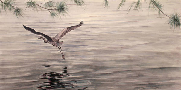 Heron Poster featuring the painting Heron In Flight by Debbie Homewood