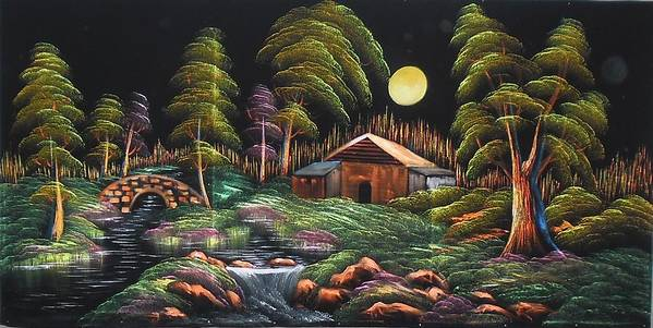 Black Velvet Poster featuring the painting House In Night At Beautiful Site by Pisces Art Word