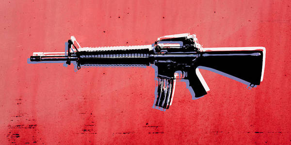 M16 Poster featuring the digital art M16 Assault Rifle On Red by Michael Tompsett