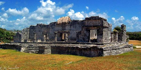 Landscape Poster featuring the photograph Mayan Ruins In Tulum 2 by Elise Samuelson