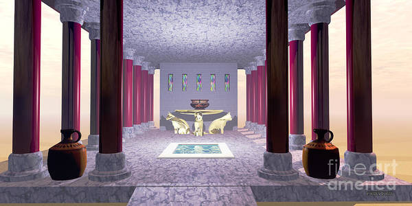 Minoan Poster featuring the painting Minoan Temple by Corey Ford