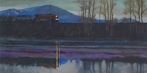 Train Poster featuring the painting Night Train by Robert Bissett