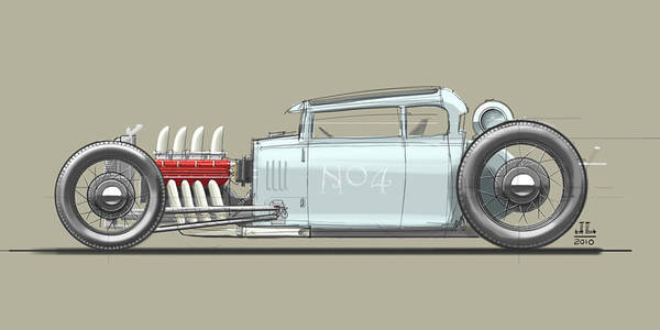 Hot Rod Poster featuring the drawing No.4 by Jeremy Lacy