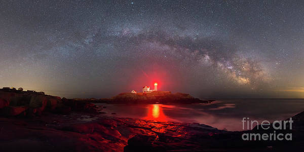 Nubble Lighthouse Poster featuring the photograph Nubble Light Milky Way Panorama by Michael Ver Sprill