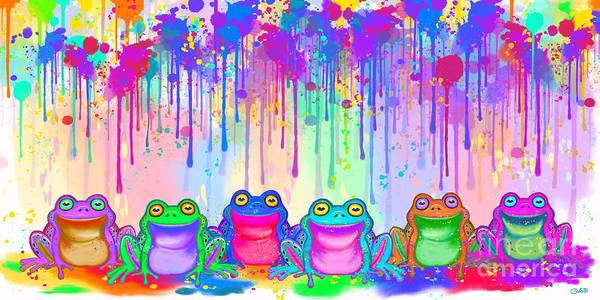 Frogs Poster featuring the painting Rainbow Of Painted Frogs by Nick Gustafson