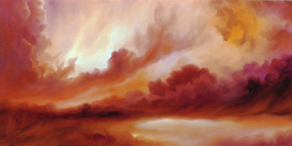 Skyscape Poster featuring the painting Receding Storm Sketch IIi by James Christopher Hill