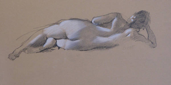 Drawing Poster featuring the drawing Reclining Nude 1 by Robert Bissett