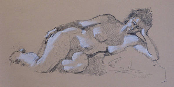 Life Poster featuring the drawing Reclining Nude 2 by Robert Bissett