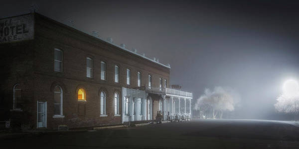Night Poster featuring the photograph Shaniko Hotel by Cat Connor