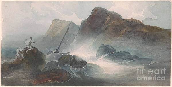 George Chinnery 1774-1852 Shipwreck Off A Rocky Coast. Dark Evening Poster featuring the painting Shipwreck Off A Rocky Coast by MotionAge Designs