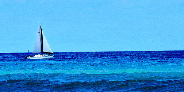 Sailboat Poster featuring the photograph Sloop Sailing On Blue by Lyle Huisken