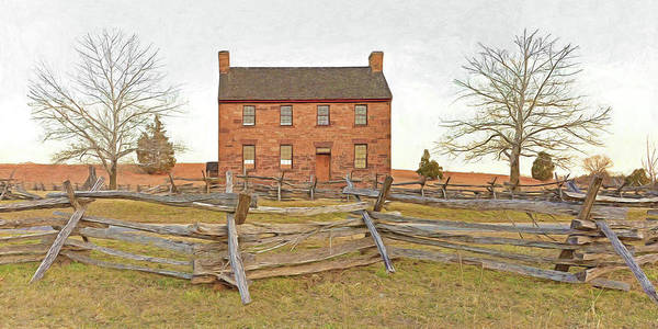 Stone House Poster featuring the digital art Stone House / Manassas National Battlefield / Winter Morning by Digital Photographic Arts