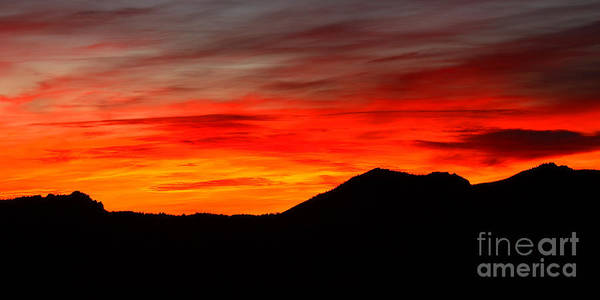 Sunrise Poster featuring the photograph Sunrise Against Mountain Skyline by Max Allen