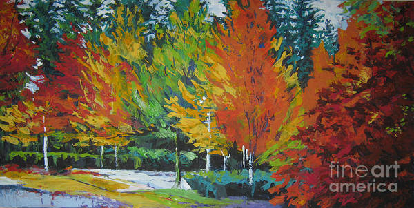 Landscape Poster featuring the painting The Big Red Tree by Lee Ann Shepard