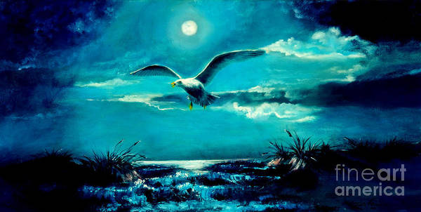 Seascape Poster featuring the painting The Lone Scavenger by Judith Allison