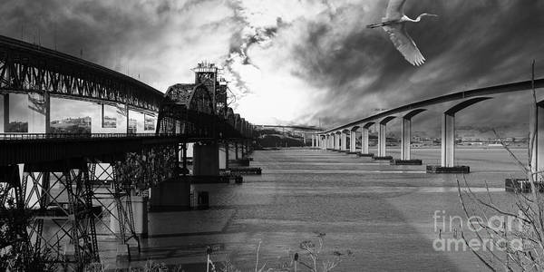 Black And White Poster featuring the photograph The Three Benicia-martinez Bridges . A Journey Through Time . Black And White by Wingsdomain Art and Photography