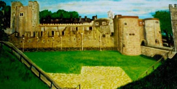 Castle Poster featuring the painting Tower Of London Study by Richard Hubal
