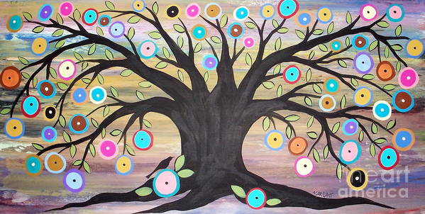 Tree Of Life Painting Poster featuring the painting Tree Of Life And Bird by Karla Gerard
