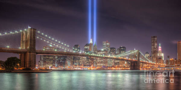 Clarence Holmes Poster featuring the photograph Tribute In Light IIi by Clarence Holmes