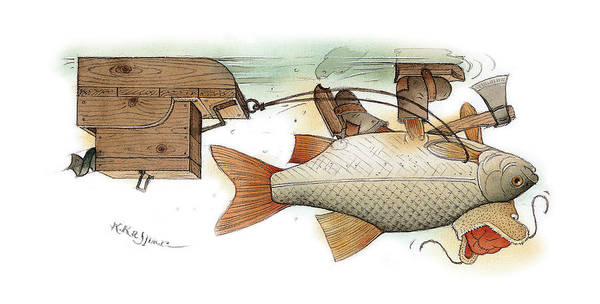 Underwater Ice Fish Fishing Winter Christmas Poster featuring the painting Underwater by Kestutis Kasparavicius