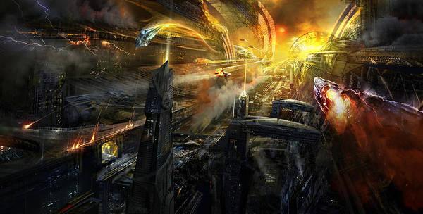 Philip Straub Poster featuring the mixed media Utherworlds Battlestar by Philip Straub