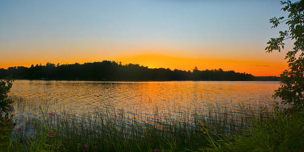 Sunset Poster featuring the photograph Wilderness Point Sunset Panorama by Gary Eason