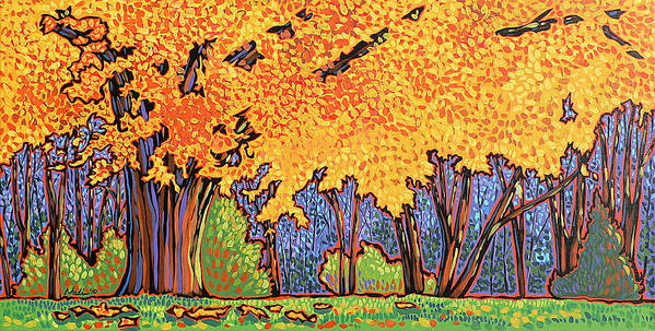 Tree Poster featuring the painting Yellow Tree by Nadi Spencer