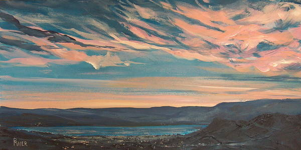 Sunset Poster featuring the painting Over The River by Pete Maier