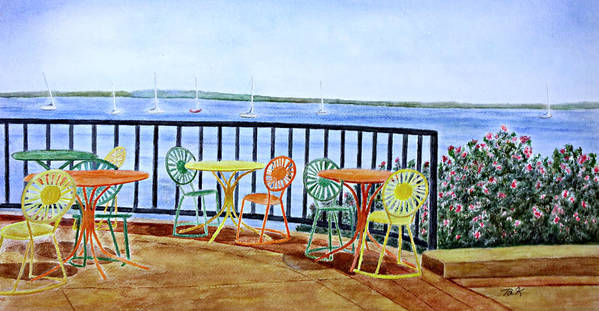 Watercolor Poster featuring the painting The Terrace View by Thomas Kuchenbecker