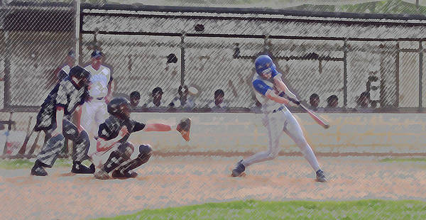 Sports Poster featuring the photograph Baseball Batter Contact Digital Art by Thomas Woolworth