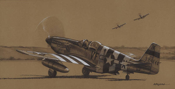 P-51 Mustang Poster featuring the drawing Flying Dutchman by Wade Meyers