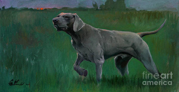 Evening Poster featuring the painting The Evening Hunt by Sergei Yatsenko
