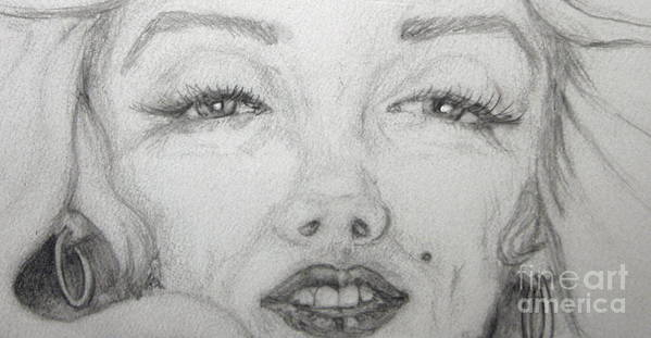 Sultry Poster featuring the drawing the eyes of Marilyn by Nancy Rucker