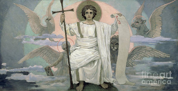 Seated Poster featuring the painting The Son Of God  The Word Of God by Victor Mikhailovich Vasnetsov