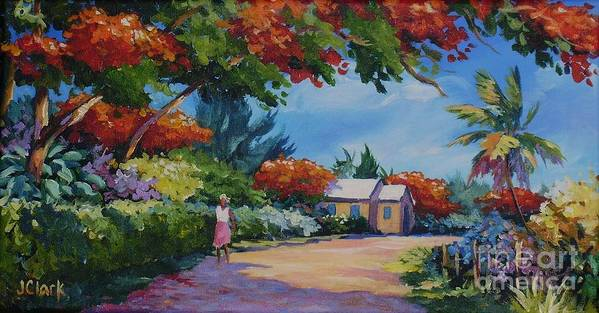 Poinciana Poster featuring the painting Walking In The Sunshine by John Clark