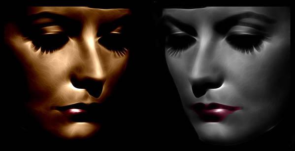 Greta Garbo Modern Digital Painting Pop Art Golden Twenties 20s Silent Hollywood Poster featuring the digital art The Divine by Steve K