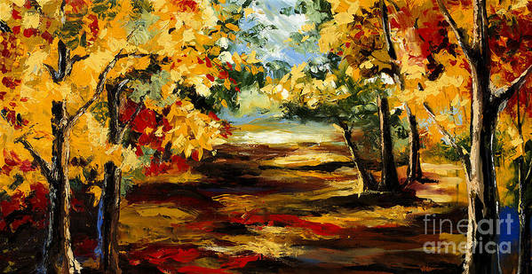 Tree Paintings Poster featuring the painting Birch Forest 4 by Madhav Singh