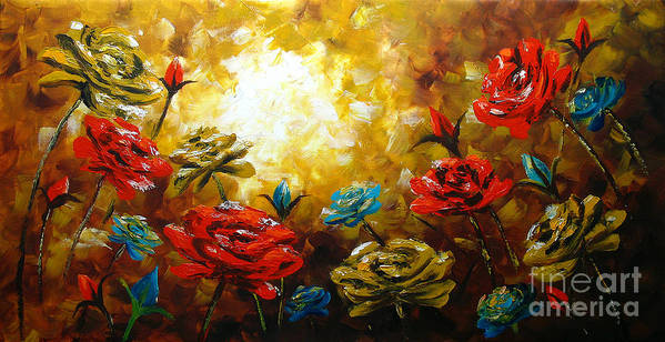 Gerbera Paintings Poster featuring the painting Camellias by Uma Devi