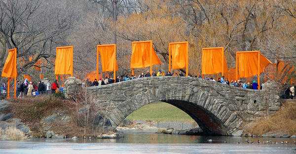 Christo And Jeanne-claude Poster featuring the photograph Gates Over Gapstow Bridge by Frank Winters