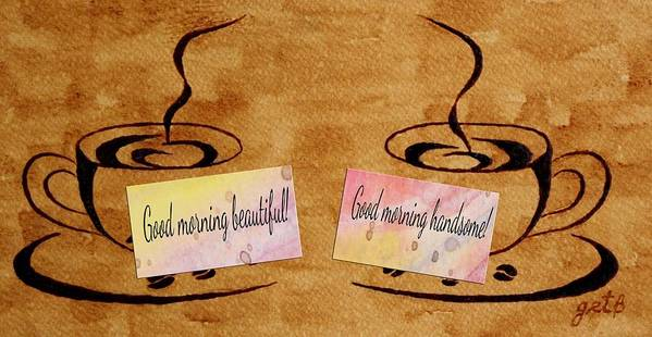 Morning Coffee Poster featuring the painting Love Morning Coffee by Georgeta Blanaru