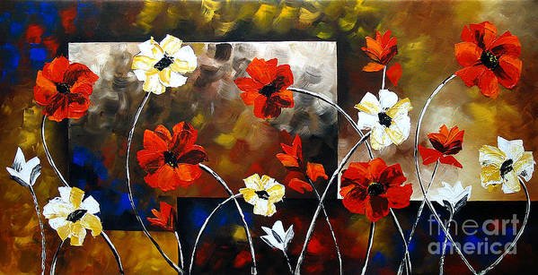Poppy Paintings Poster featuring the painting Poppy Spectrum by Uma Devi