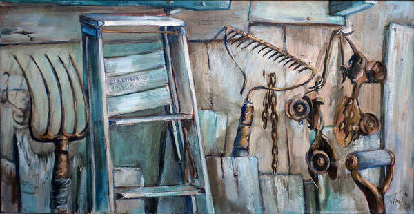 Rustic Settings Poster featuring the painting Rusty Tools by Jean Groberg