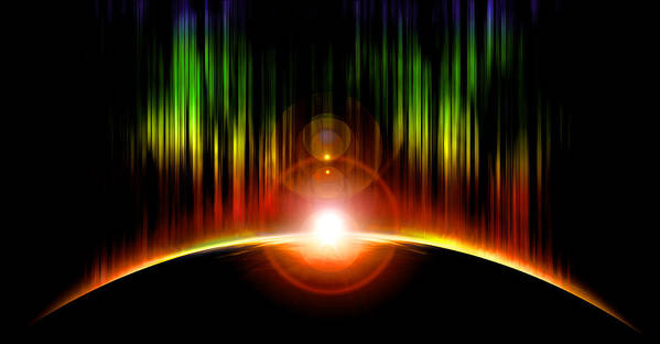 Abstract Poster featuring the digital art Solar Eclipse by Svetlana Sewell