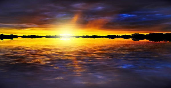 Abstract Poster featuring the photograph Sunset By The River by Svetlana Sewell