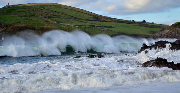 Waves Poster featuring the photograph Waves In Dingle by Barbara Walsh